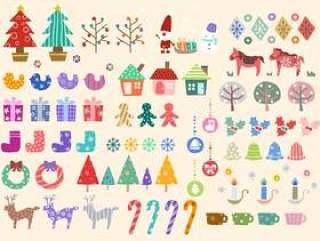 圣诞冬季股票设置斯堪的纳维亚风格