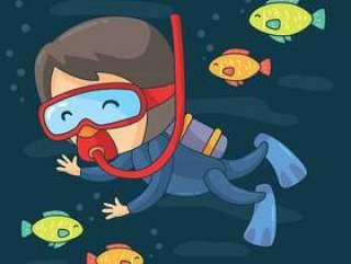 卡通水肺潜水矢量