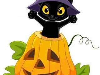 可爱的黑猫与万圣节南瓜