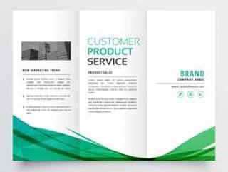 优雅的绿色波浪灯笼宣传册设计为您的业务
