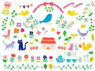 植物和动物和可爱的配件设置