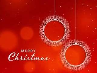 圣诞快乐圣诞红色背景与观赏圣诞球