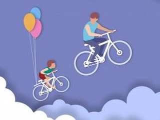 骑自行车父亲和儿子