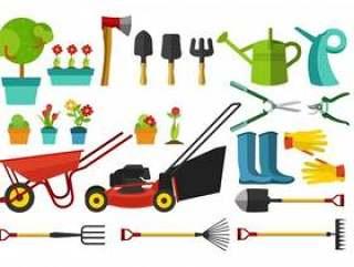 园林工具和多种尺寸的物品