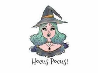 有蓝色头发传染媒介的性感的巫婆