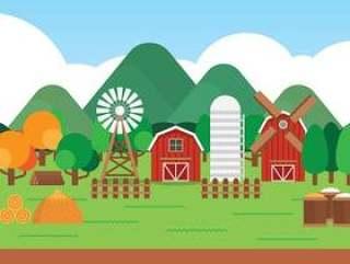 农场卡通风景