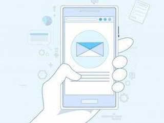 手细胞巧妙的电话信封送商业邮件传染媒介例证