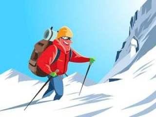 登山登山者矢量