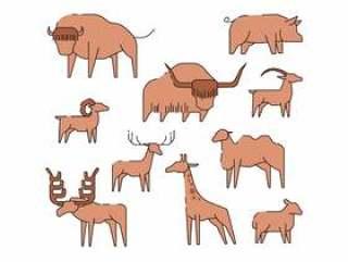 动物线图标矢量