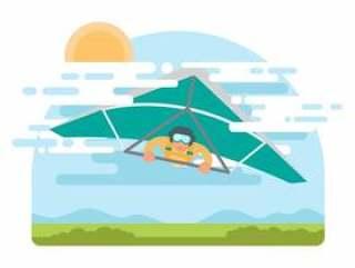 悬挂式滑翔机矢量图上的自由人