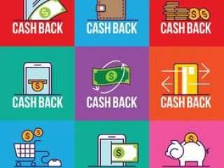商店,标签标签现金返回后销售插图的一套现金返还徽章