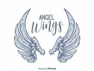 矢量手绘天使的翅膀