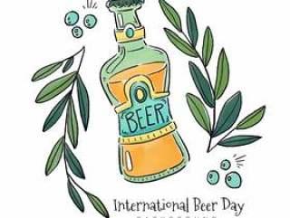 有叶子和泡影的啤酒瓶
