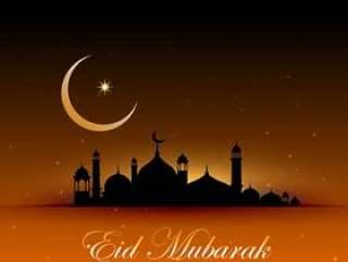 与清真寺和月亮的真棒eid穆巴拉克背景