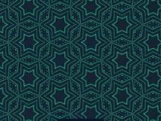 抽象的绿色星状图案在蓝色背景上