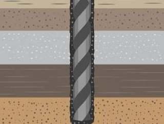 地球俄歇钻子和土壤例证的地质力学概念