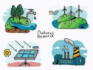 自然资源手绘矢量图