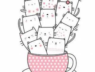 可爱的猫咪卡通手绘风格