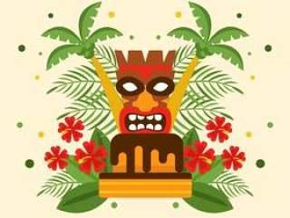 与Tiki传染媒介的玻利尼西亚人的生日