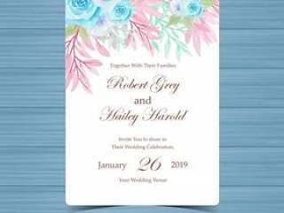 与柔和的玫瑰的水彩花卉婚礼邀请