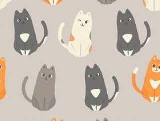 可爱猫咪集合无缝图案背景