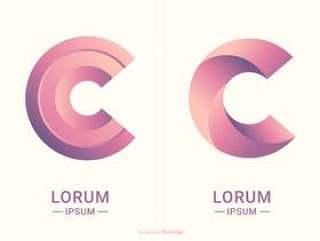 抽象字母C排版矢量标志设计模板