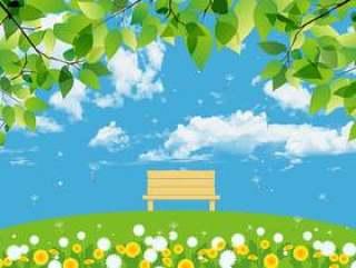 新鲜的绿色和绿色的小山长凳