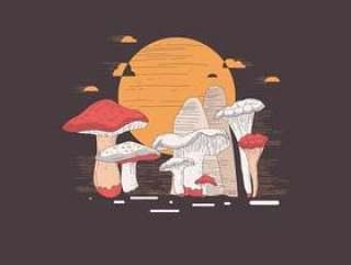 与石版画样式传染媒介的蘑菇