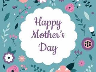 母亲' s天的可爱的花卉元素与蓝色背景