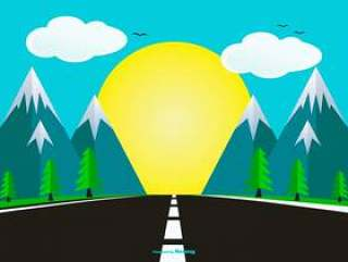 平面样式景观与公路图