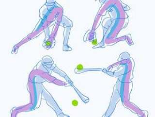 抽象的棒球运动员姿势素描手绘矢量图