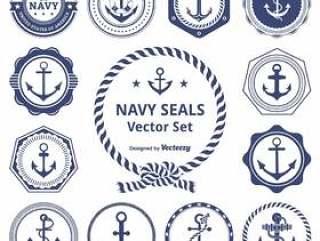 复古海军印章矢量包
