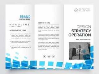 抽象的三栏式业务宣传册设计与蓝色马赛克效果