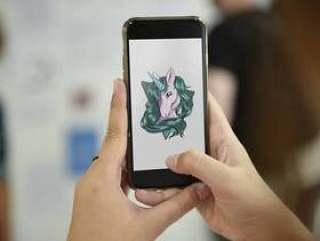 显示独角兽图表的手机