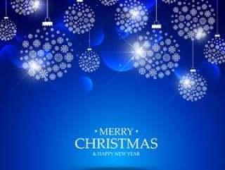 用雪花挂在蓝色背景上的圣诞球