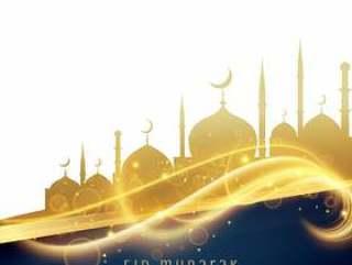 令人敬畏的节日问候设计与金色清真寺和光