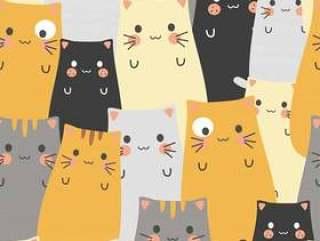 无缝的样式逗人喜爱的猫动画片
