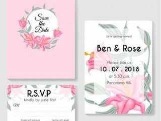 设计模板植物的邀请卡片绿色叶子和百合桃红色花