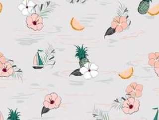 热带岛屿森林无缝矢量芙蓉图案
