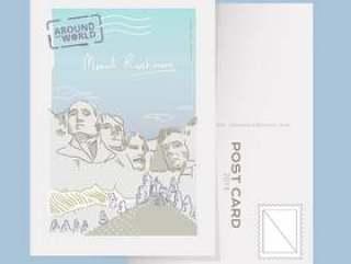 历史纪念碑拉什莫尔山明信片传染媒介例证