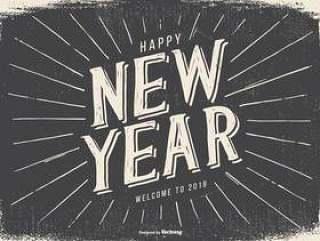 复古风格新年快乐2018年插图