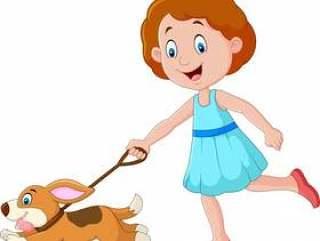 跑与小狗的小女孩