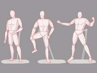 行动姿势时装模特素描手绘矢量图