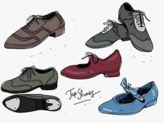 踢踏鞋手绘集合矢量图
