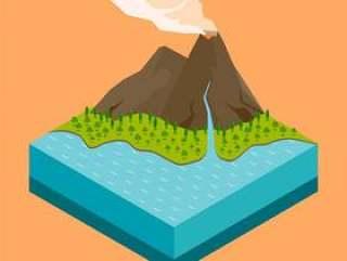 火山等轴测图