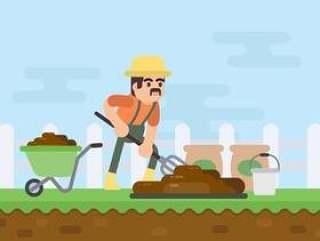 农民挖有机肥料插图