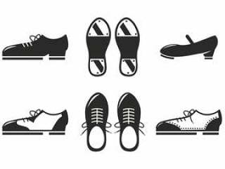 黑色的鞋子图标矢量