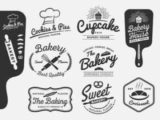 面包店和面包标志标签设计的一套