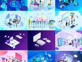 18款电商电脑手机流程UI插图画商务办公banner广告设计AI矢量分层素材