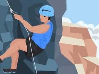 做攀爬的登山者人